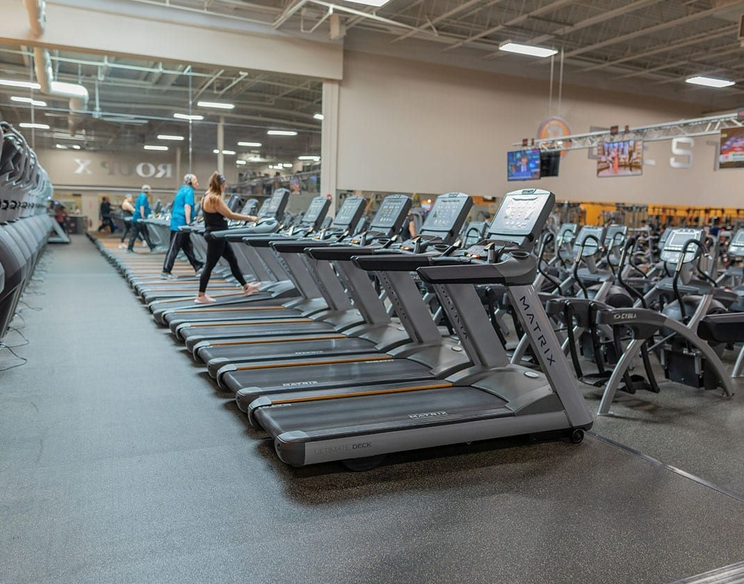 row of treadmills at modern gym