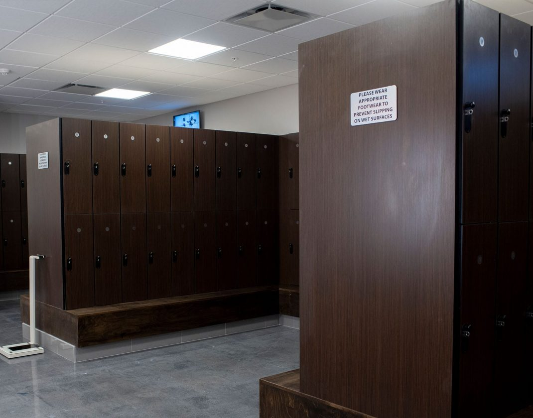 locker room in modern gym