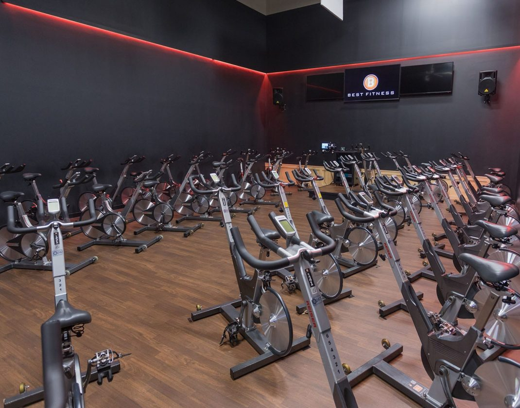 cycling equipment in spacious spin studio