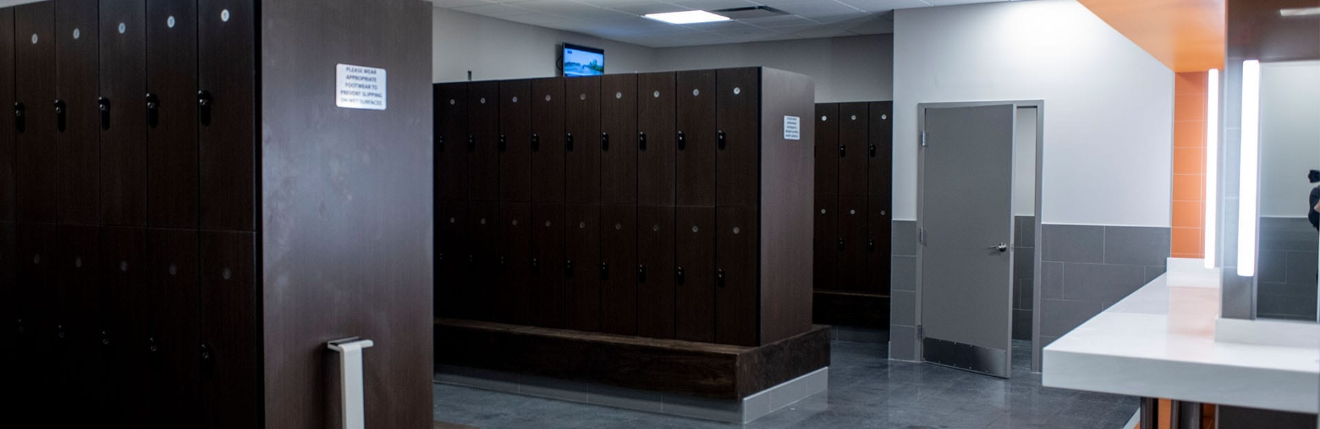 very clean and modern locker room facility