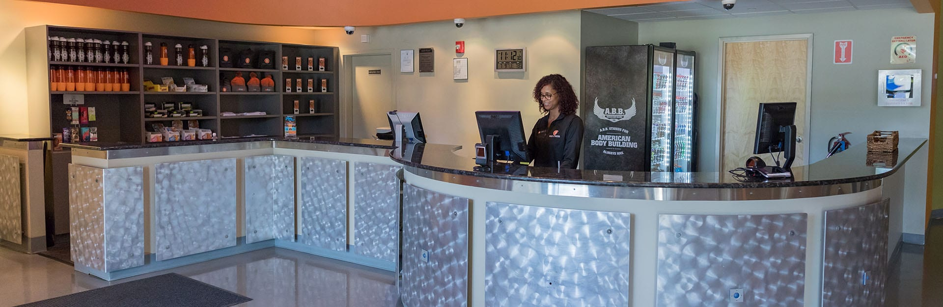lobby with registration desk and merchandise