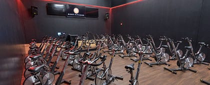 modern cycle equipment in spacious studio