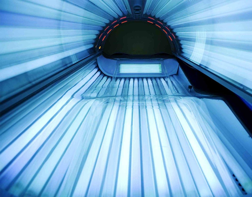 inside of tanning bed
